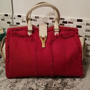 Rare ❤ Yves Saint Laurent Cabas Chyc Leather/Tweed
